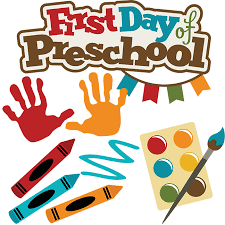 "Words ""First day of preschool"" surrounded by paints and crayons - choose the best among preschools in Jersey City."